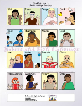 image of baby signing poster showing illustrated toddlers signing signs related to bathtime