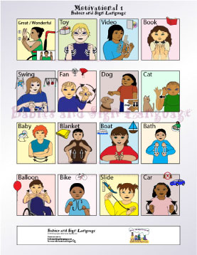 image of baby signing poster showing illustrated toddlers signing signs related to manners
