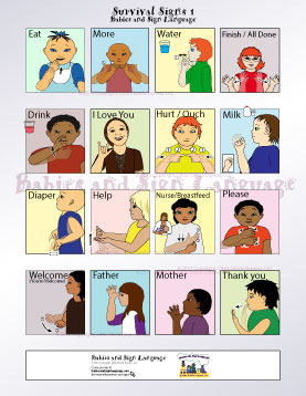 image of baby signing poster showing illustrated toddlers signing different signs for colors