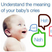 Picture of a cute baby looking up smiling up at a title that says Understand the meaning of your baby's cries