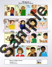 Picture of baby sign language poster chart showing children signing asl animals
