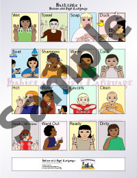Picture of baby sign language poster showing illustrated toddlers signing signs related to bathtime
