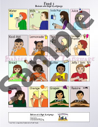 Picture of baby sign language poster showing illustrated toddlers signing food signs