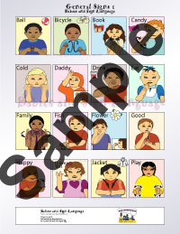 Picture of baby sign language poster signing chart with custom illustrated babies signing general signs