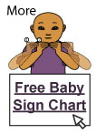Image of illustrated baby signing more, text says Free Baby Sign language Chart!