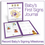 This is an image of an infant journal keepsake for parents wanting to record memories of baby's first sign