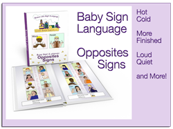 book cover for affiliates showing toddler signing opposites pages