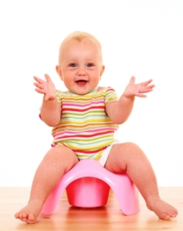 picture of a happy baby potting training as pertains to elemination communication