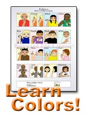 image of baby sign language colors poster, text reads learn colors