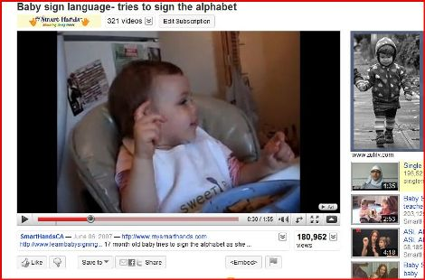 photo of youtube baby sign language video screenshot for babies and sign language dvd contest